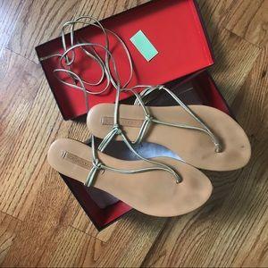 BCBG Gold Strap Sandals